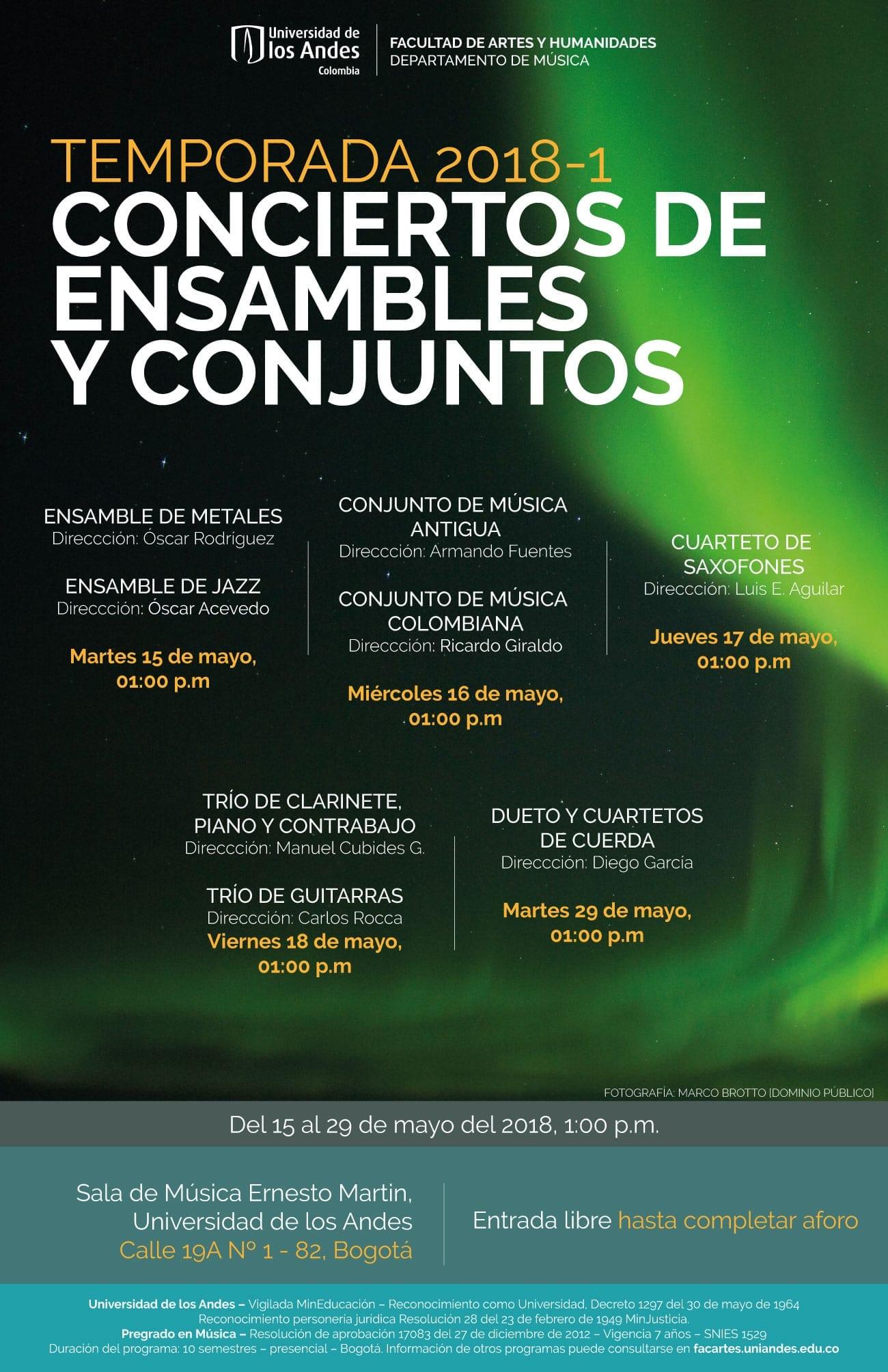 Temporada 2018-1 de Conciertos de los Ensambles y Conjuntos musicales uniandinos