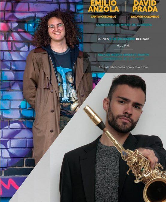 Concierto de mitad de carrera de Emilio Anzola, canto, y David Santiago Prada, saxofón