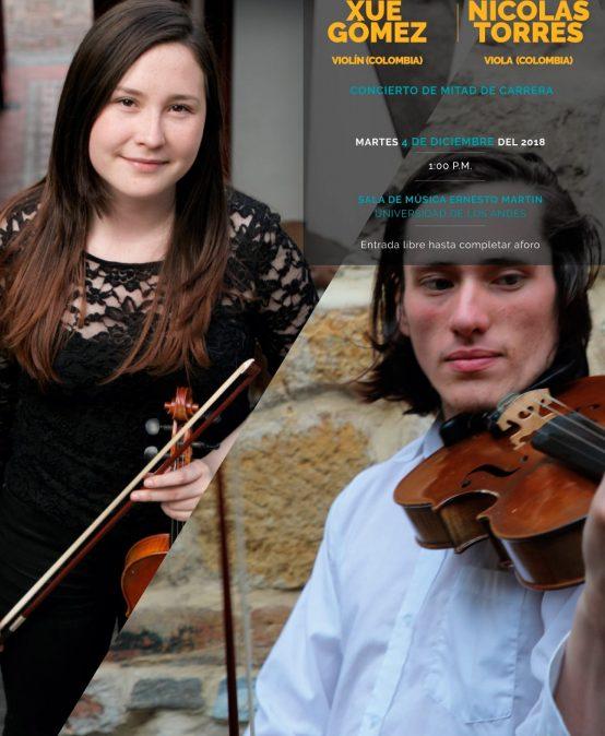 Concierto de mitad de carrera: Xué Gómez, violín / Nicolás Torres, viola