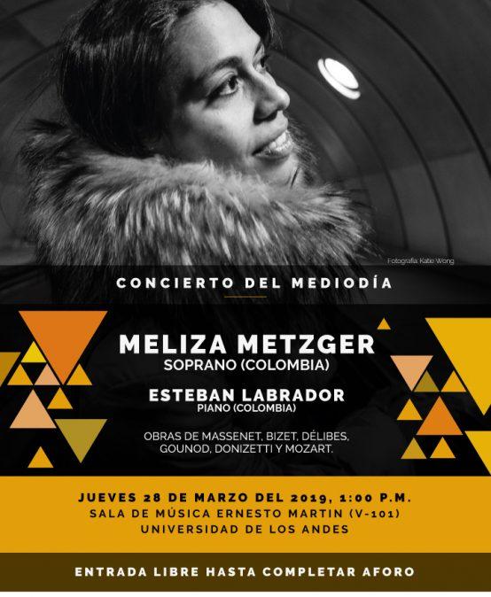 Concierto del mediodía: Meliza Metzger, soprano (Colombia)