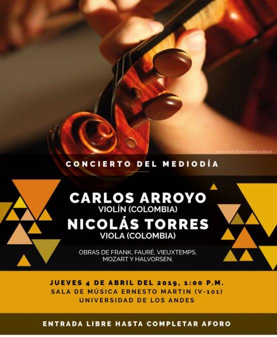 Concierto del mediodía: Carlos Arroyo, violín, y Nicolás Torres, viola