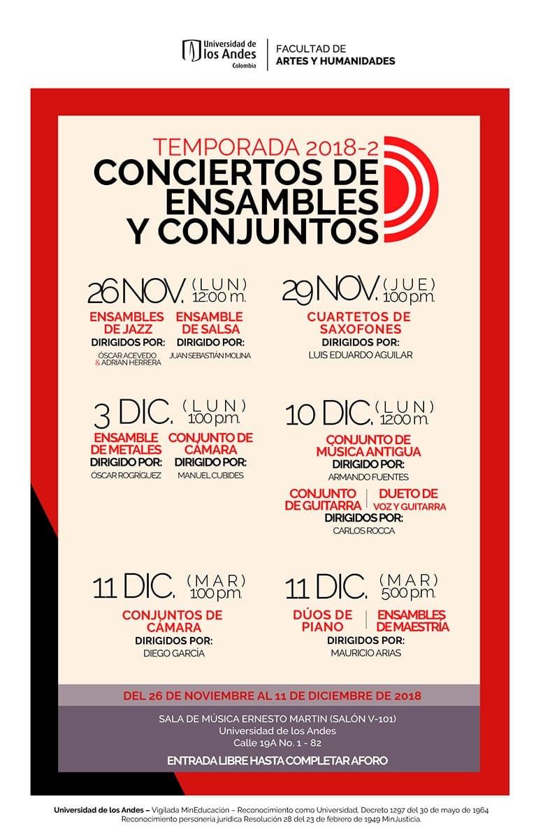 Temporada 2018-2 de Conciertos de los Ensambles y Conjuntos musicales uniandinos