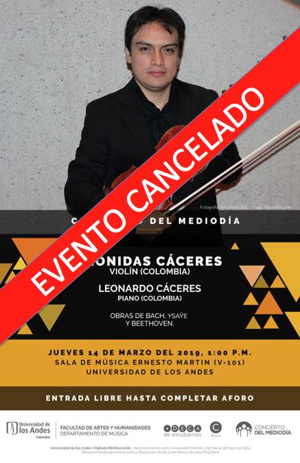 Cancelado: Leonidas Cáceres, violín (Colombia)