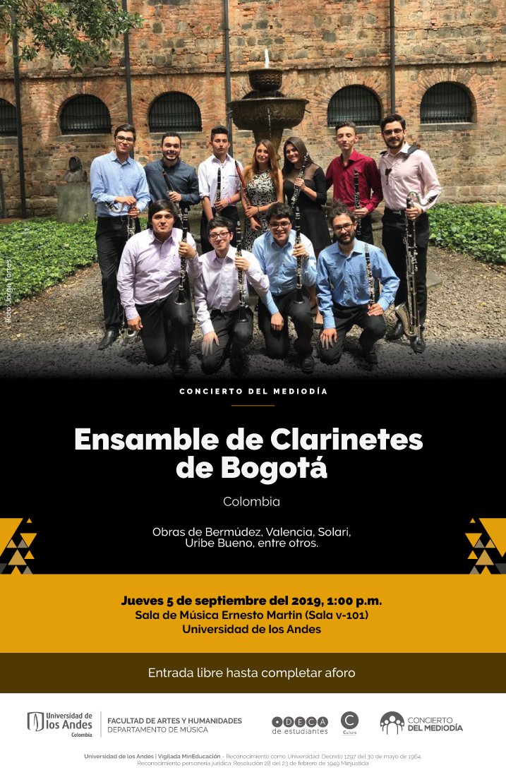 Concierto del Mediodía: Ensamble de Clarinetes de Bogotá (Colombia)