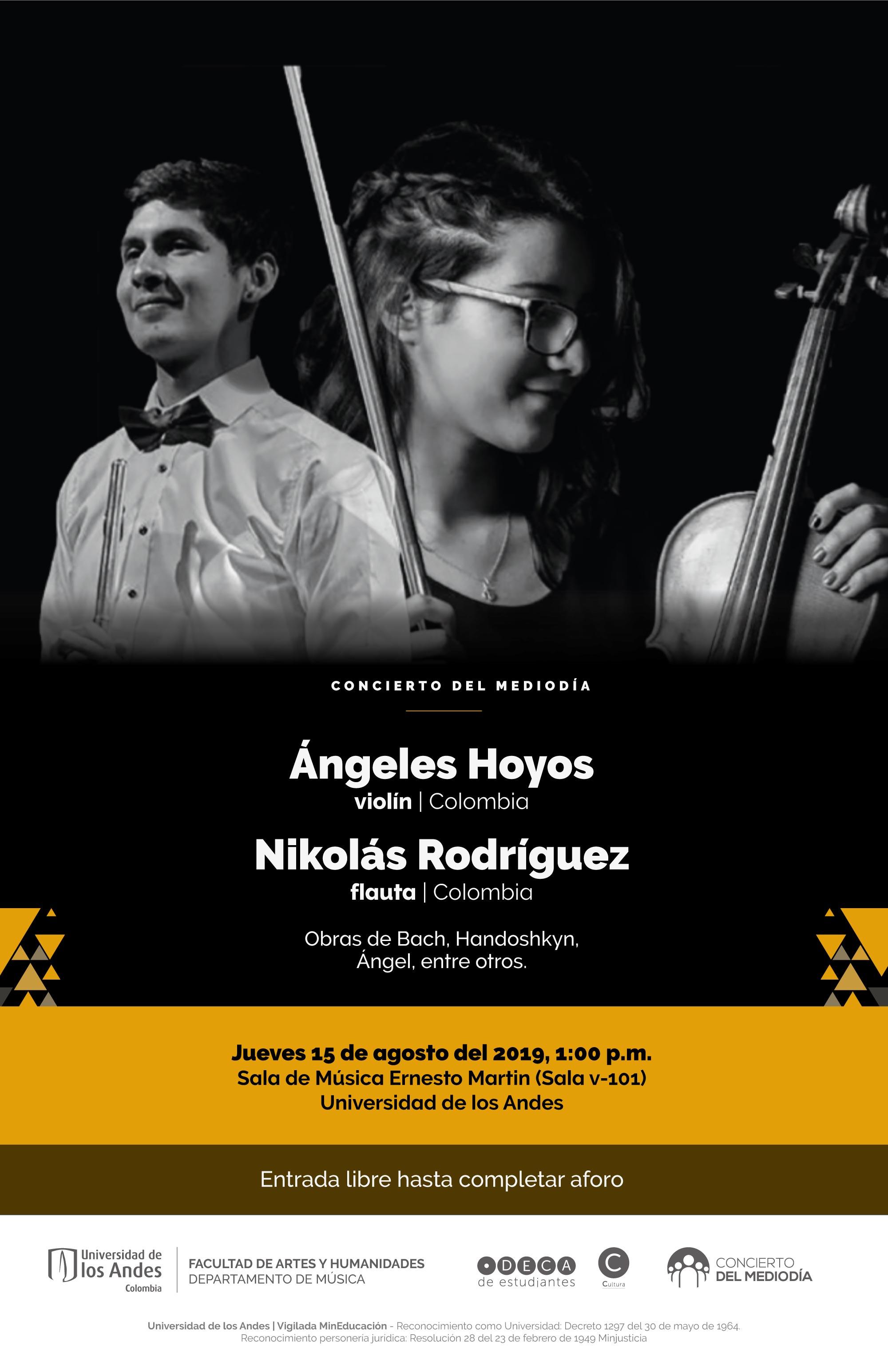 Concierto del Mediodía: Ángeles Hoyos, violín (Colombia) y Nikolás Rodríguez, flauta (Colombia)