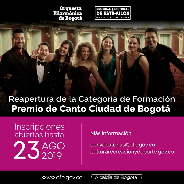 Reapertura de la categoría de Formación en el Premio de Canto Ciudad de Bogotá