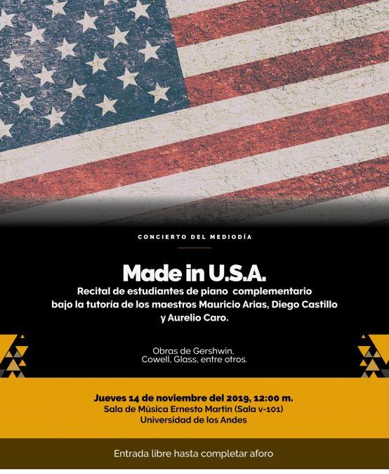 Concierto del Mediodía: Made in U.S.A. – Recital de estudiantes de piano complementario