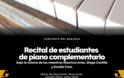 Concierto del Mediodía: Estudiantes de piano complementario