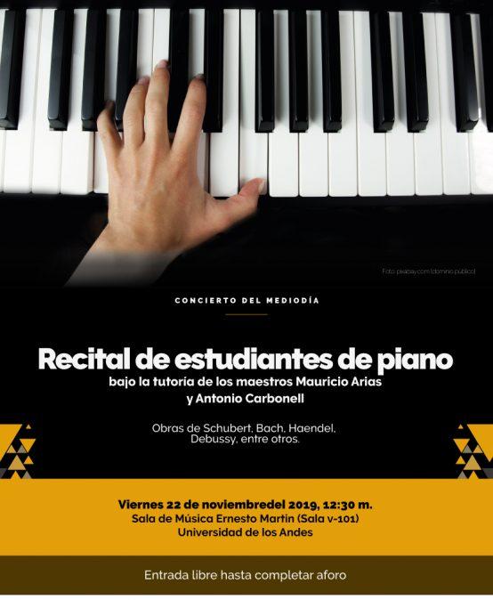 Concierto del Mediodía: Estudiantes de piano principal