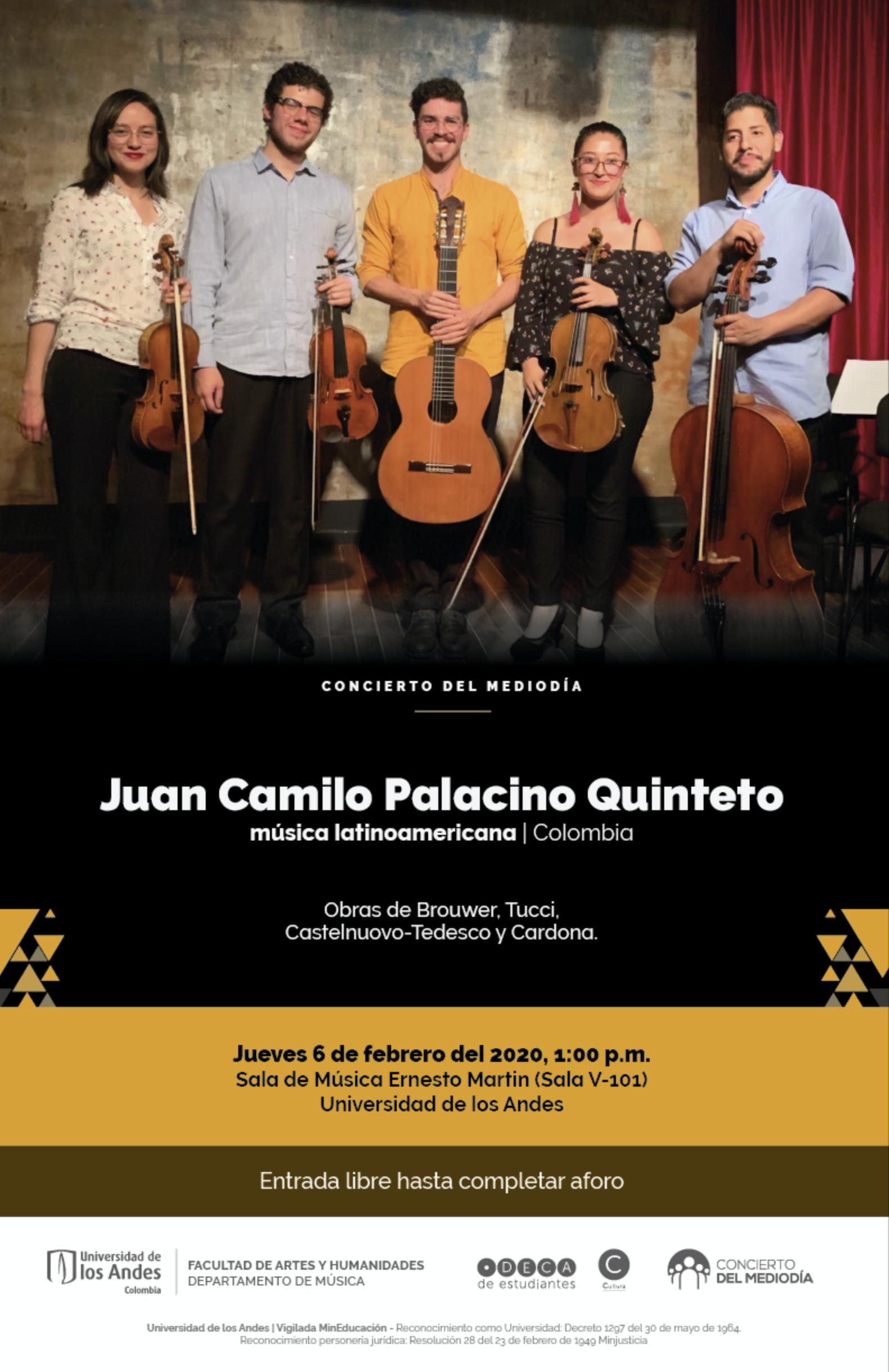 Concierto del mediodía: Juan Camilo Palacino Quinteto (Colombia)