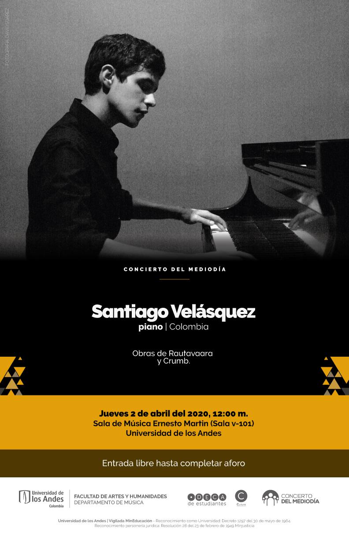 Concierto del mediodía: Santiago Velásquez, piano